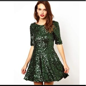 French Connection Green Sequin Skater Dress NWT